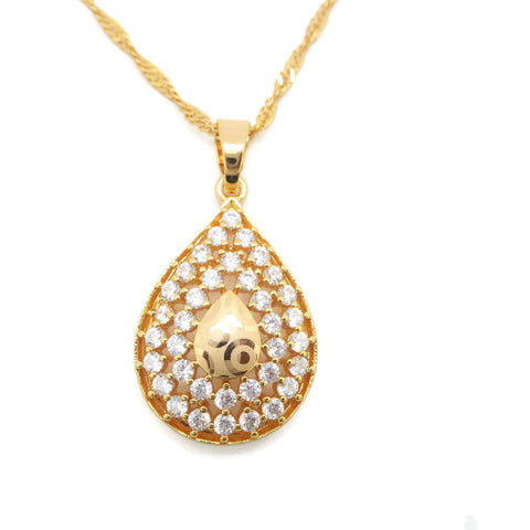 18 kt Gold Plated Drop Women Fashion Pendant - Jawaherat