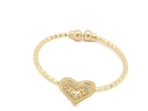 18kt gold plated kid's fashion bracelet heart shape design
