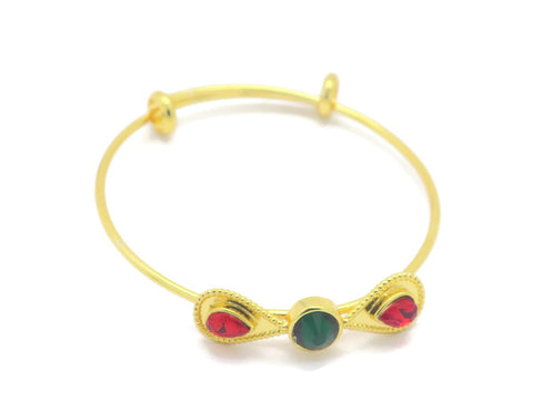 18kt gold plated kid's fashion bracelet with emerald and ruby  color stone