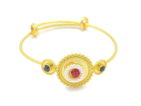 18kt gold plated kid's fashion bracelet with pearl color stone