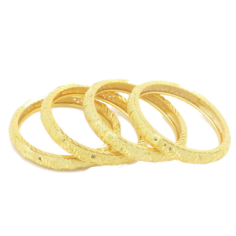18 kt gold kid's 4 pcs set fashion bangle  leaf design
