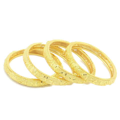 18 kt gold kid's 4 pcs set fashion bangle flower design