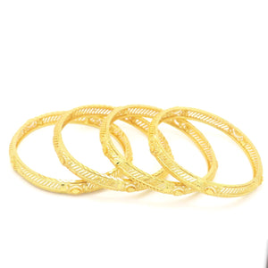 18 kt Gold Plated Women's 4Pcs Bangle Leaf Set - Jawaherat