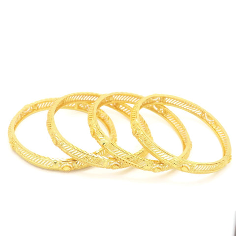 18 kt Gold Plated Women's 4Pcs Bangle Leaf Set