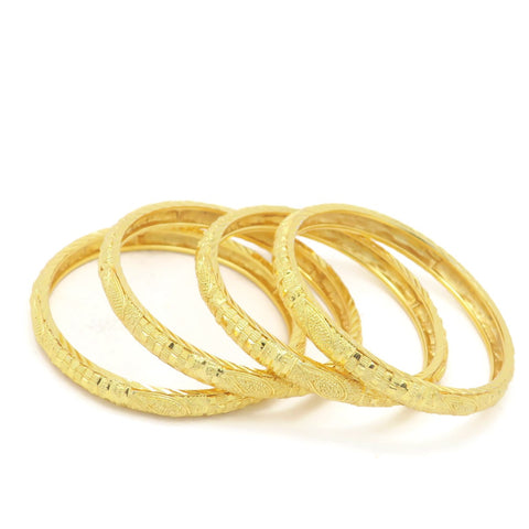18Kt Gold Plated 4pcs Leaf Bangle Set