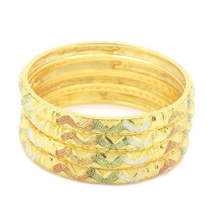 18 kt Gold Plated Multicolor 4pcs Bangle Set - Jawaherat