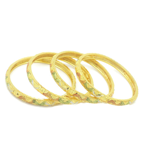 18 kt Gold Plated Multicolor 4pcs Bangle Set