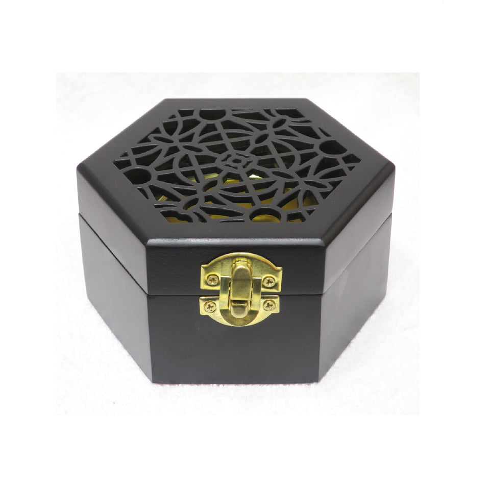 WOODEN SQUARE SHAPE INCENSE BURNER - Jawaherat