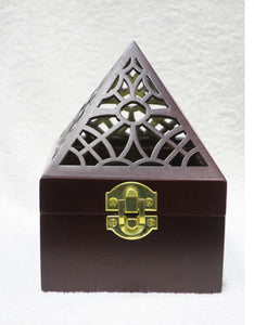 WOODEN PYRAMID SHAPE INCENSE BURNER - Jawaherat