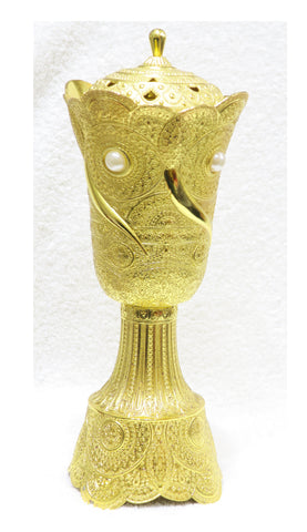 Pure Arabic pattern gold plated Incense Burner - Jawaherat