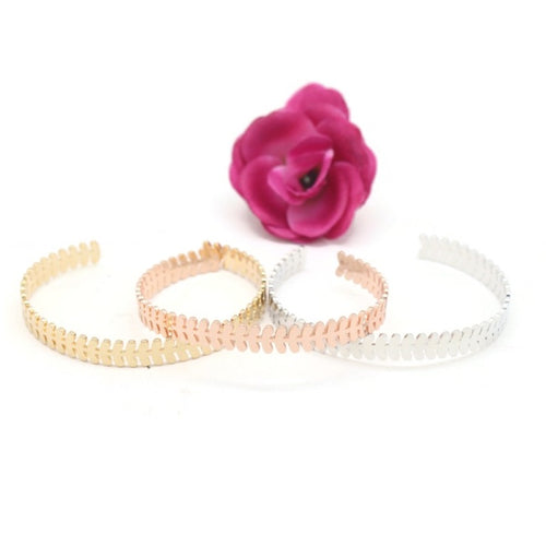 3 Pieces Women's Fashion 3Tone Colour Leaf Design Bangle Bracelet - Jawaherat