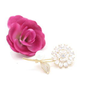 Women's Pin Brooch Ladylike Zircon Floral Design Brooch Accessory - Jawaherat