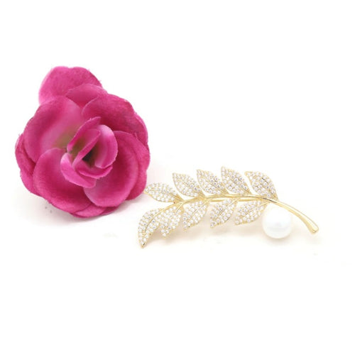 Women's Pin Brooch Ladylike Zircon Leaf Design Brooch Accessory - Jawaherat