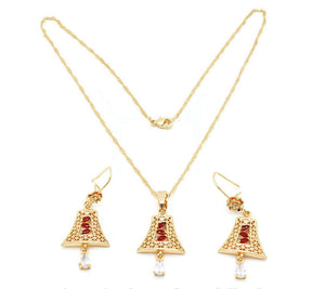 FC Beauty 18K Gold plated Bell fashion necklace and ring set for women with elegant cubic stones