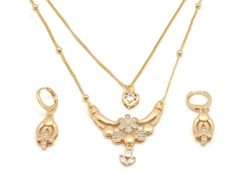 laser printed zirconia studded double chain pendant necklace set