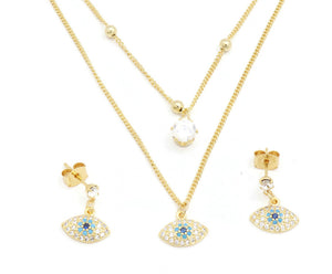 FC Beauty 18k Gold plated  double layered necklace and ear ring set for women with elegant cubic stones