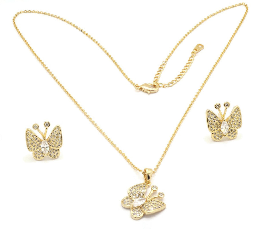 Women's Golden Necklace set with brilliant cubic stone set Moon and Star design pendant and Ear rings, 18k Gold plated