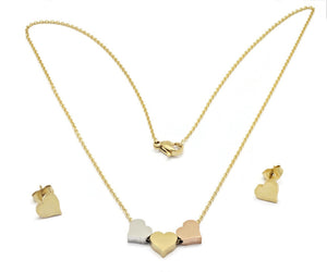 Women's Stainless Steel  Necklace with lovely heart design pendant and Ear rings, 18k Gold plated