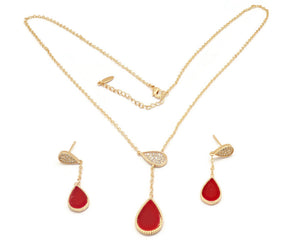 Women's Golden adjustable Necklace with brilliant cubic stone set tear drop design charms and Ear rings, Enameled red centre, 18ktt Gold plated, hypo-allergenic