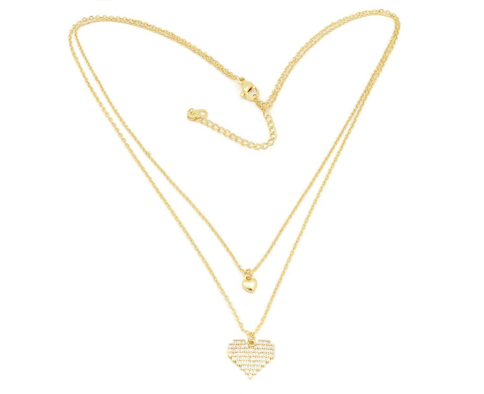 The Classic Dual heart double chain neckalce studded with cubic zirconia stone locket plated  in 18kt copper based metal, perfect gift for her-Fc Beauty