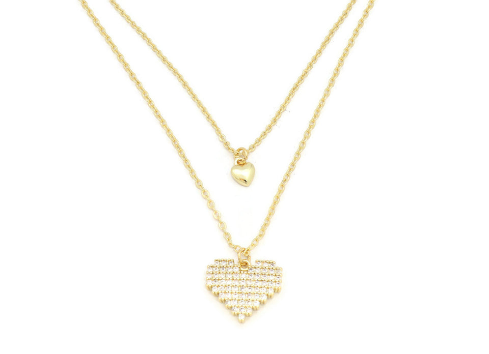 Zirconia Studded Classic Dual heart double chain Pendant Necklace