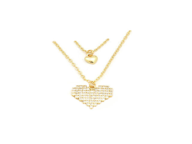 The Classic Dual heart double chain neckalce studded with cubic zirconia stone locket plated  in 18kt copper based metal, perfect gift for her