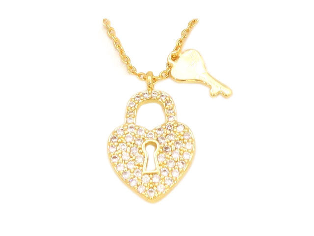 The Classic Heart lock studded with cubic zirconia stone locket plated  in 18kt copper based metal, perfect gift for her