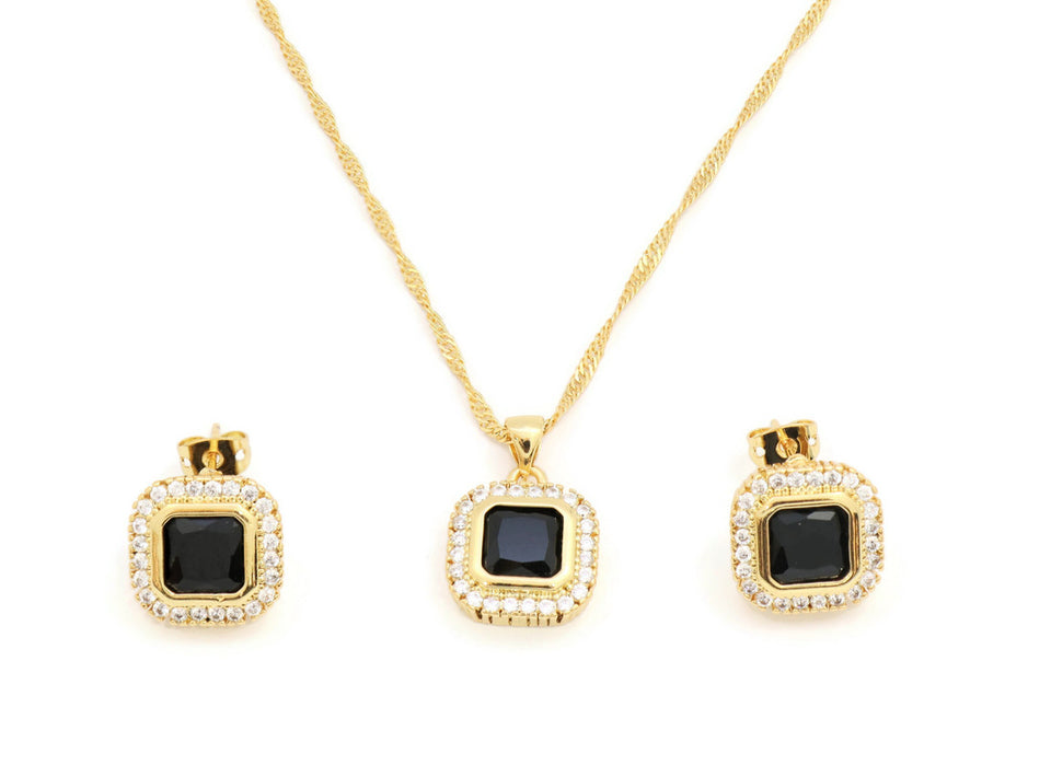 Gorgeous black gemstone Pendant and Earring Set, framed with White Cubic stones