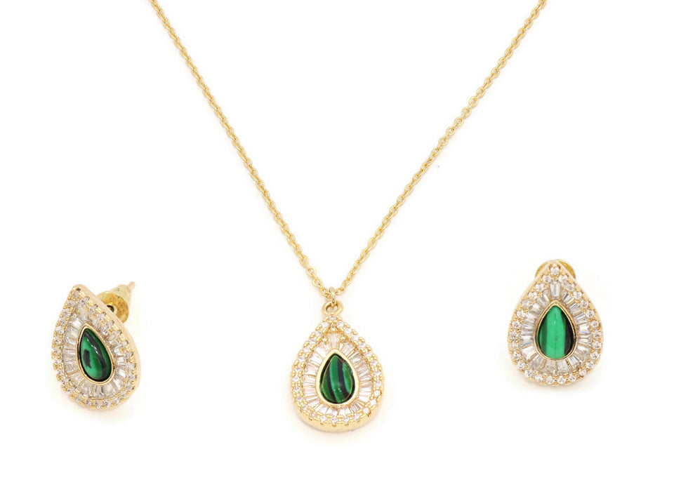 Gorgeous Emerald gemstone Pendant and Earring Set, framed with White Cubic stones