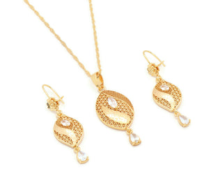 laser printed zirconia studded pendant necklace set