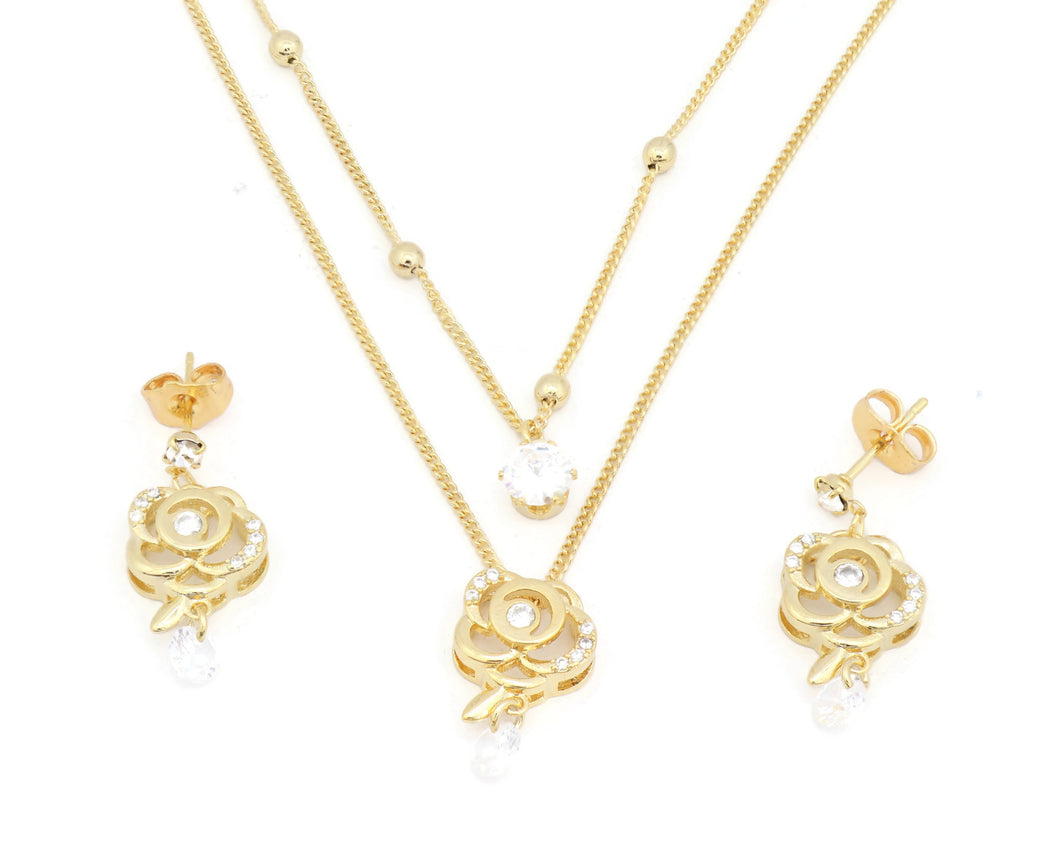 Ziroconia studded hollow rose pendant necklace