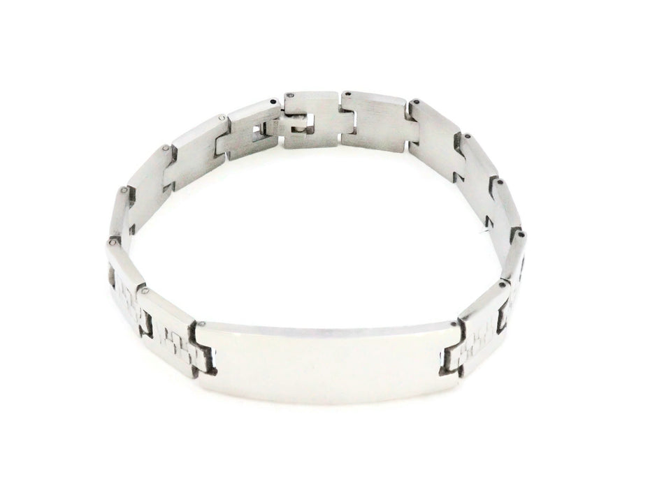Stainless Steel men's bracelet with fold over clasp