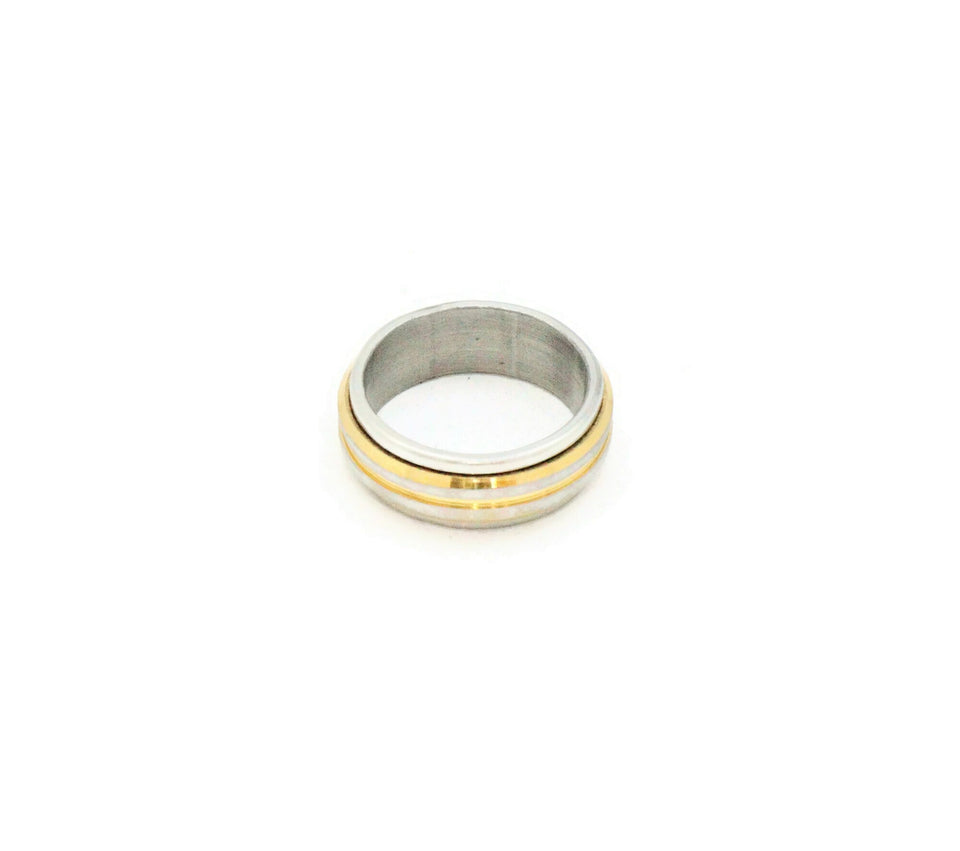 mens ring, Gold and Silver rounded men's ring, Two tone stainless steel with silver and gold colour