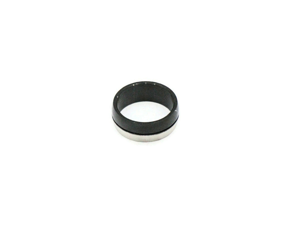 Two tone stainless steel with silver and black colour men's ring