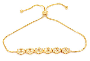 Women's adjustable chain bracelet, Gold plated, Heart shaped charm design, Faceted white Cubic Stones, Made for Women and Girls
