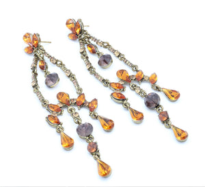Bollywood  Crystals and Kundan looks Designer Dazzling Chandelier Earrings For Women