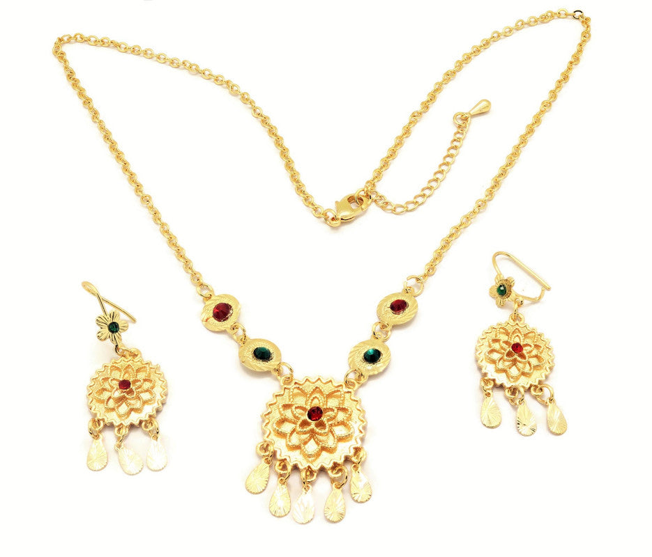 Florence Collection Jewelry Set Necklace +  Earrings, 18k Gold plated, Geometric  design, Multi colored Gemstones settings, Hypoallergenic, Perfect gift for her