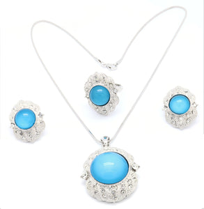 18k Simple design Jewelry Sets Women Rhodium Plated