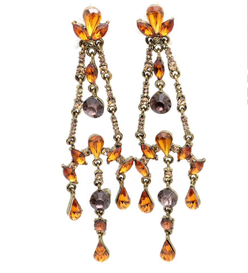 Bollywood  Crystals and  Dazzling Chandelier Earrings
