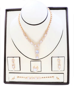 Rain drop Zirconia studded  gold platted jewelry set