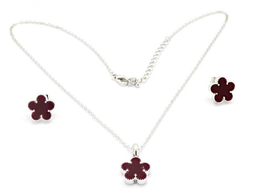 Women's Golden Necklace with brilliant cubic stone set Clover Leaf design pendant and Ear rings, Rhodium plated