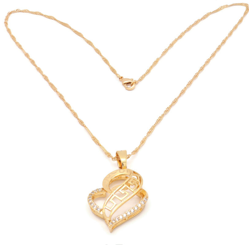 18kt Necklace with Heart and Elegant cubic stone setting