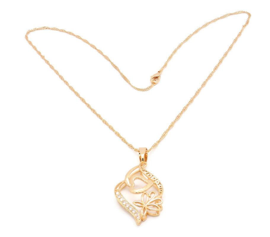 18kt Cute Entangled Hearts  Fashion Pendant   Cubic White stone setting