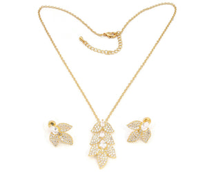 The Zircon Studded Dangling Leaves Pendant with a beautful pair of earrings and gold plated adjustable chain with lobster clasps.