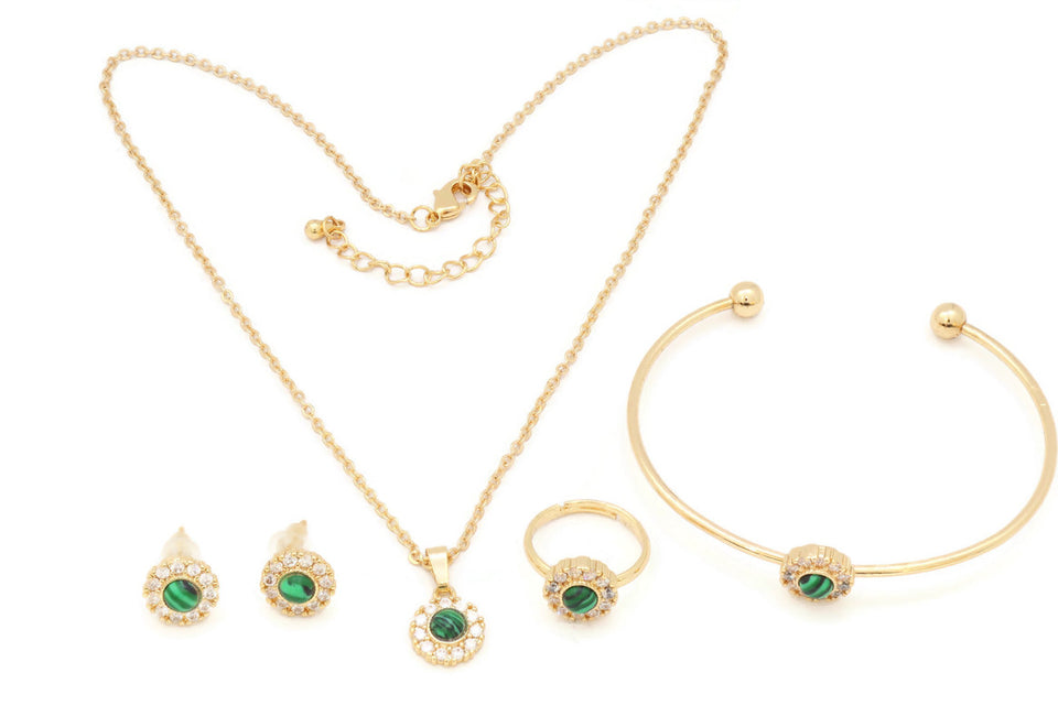 The Green Ceramic studded Chain pendant with a pair of earrings, ring and Cuff bangle