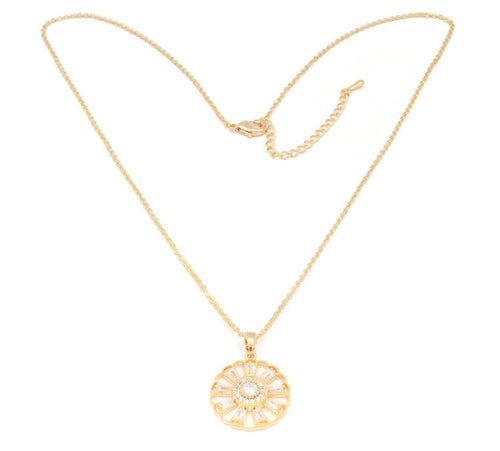 The Zircon Gold Dahlia Flower Pendant studded with zircon stones, Chain Pendant with Zircon stones.