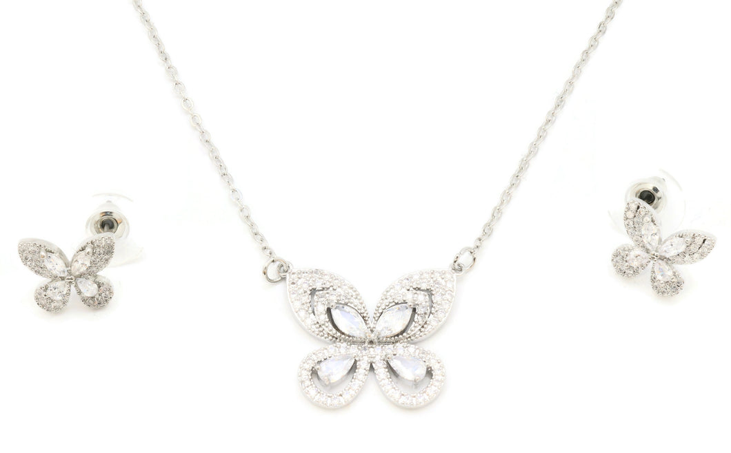 The Zircon Butterfly Pendant with Butterfly earrings with rhodium platings and adjustable chain and lobster clasps,