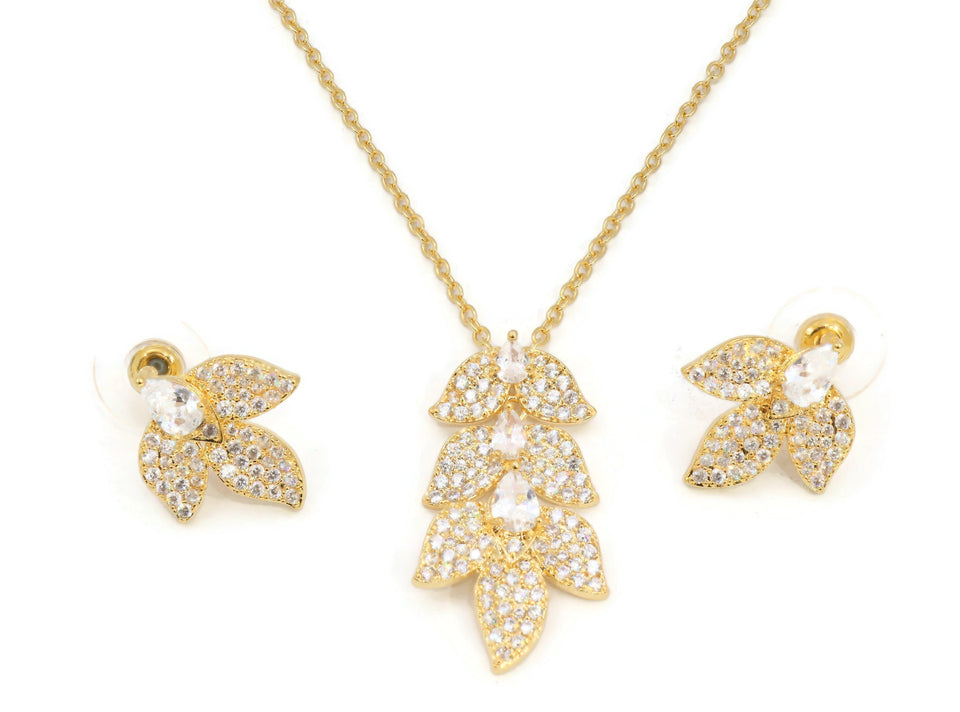 Zirconia studded pendant with earrings set.