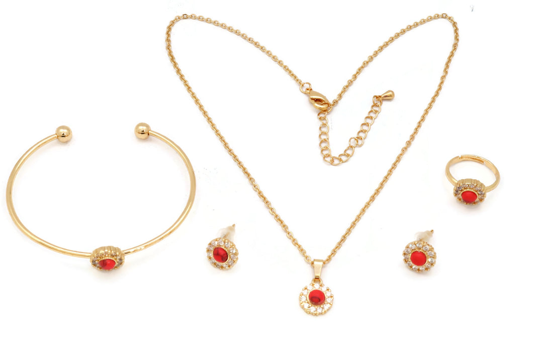 The Zircon Studded Elegant pendant with red ceramic studs on the mount, Gold Chain pendant with adjustable chain and lobster clasps