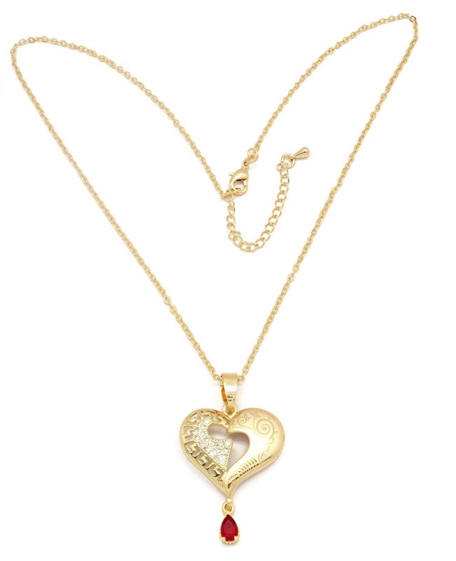Women's Golden Necklace with brilliant cubic stone set Heart design pendant, Gold plated, Gemstone charm